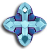 Swarovski 6868 Cross Tribe Aquamarine-Metallic Blue