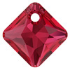 Swarovski 6431 Princess Cut Pendant 9 mm Scarlet